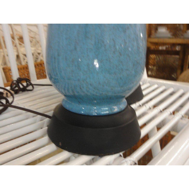 Mid-Century Modern Robin Egg Blue Glazed Lamps - A Pair - Image 5 of 10