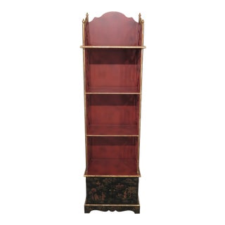 Chinoiserie Paint Decorated Open Etagere Curio Shelf For Sale