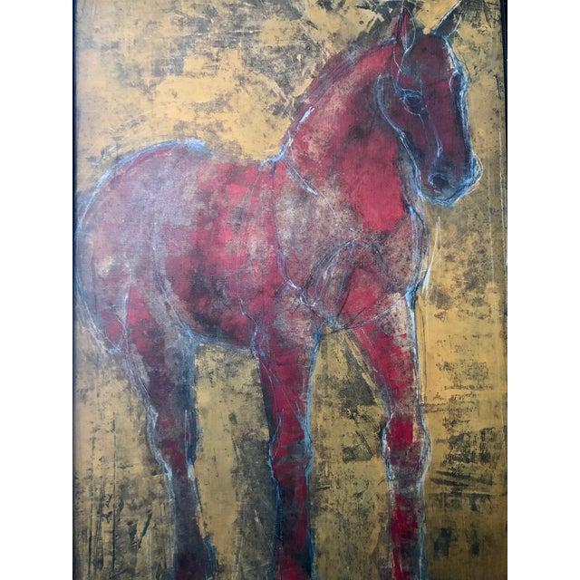 Figurative Reverse-Color Framed Hearting Horses Prints - a Pair For Sale - Image 4 of 12