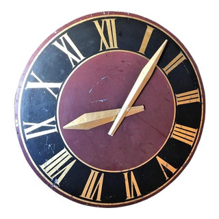 French Tower Clock Face in Human Size Heavy Painted Metal For Sale