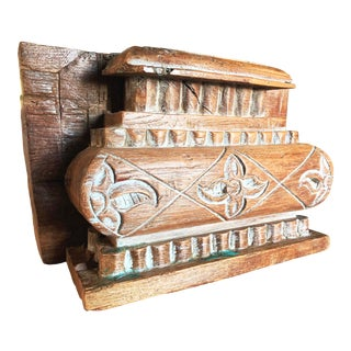 Anglo Indian Carved Light Teak Architectural Half Pillar Pilaster Capital Column Top For Sale