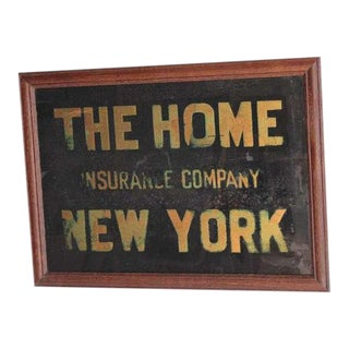 "1900's ""The Home Insurance Company New York"" Reverse Glass Sign For Sale"