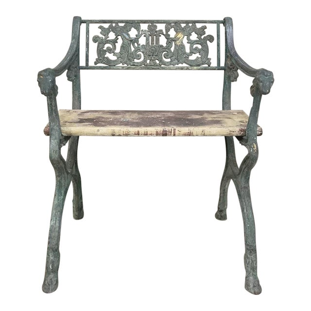 Early 19th Century French Charles X Cast Iron Armchair For Sale