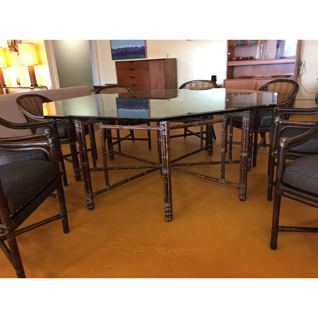 McGuire Octagonal Bamboo and Glass Dining Table and Matching McGuire Rattan Chairs -Set of 8 For Sale In Seattle - Image 6 of 13