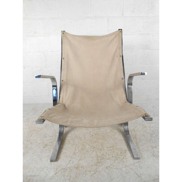 Mid-Century Modern Ingmar Relling Style Sling Lounge Chair and Ottoman For Sale In New York - Image 6 of 10