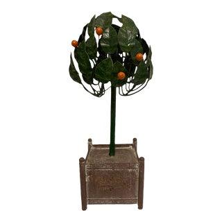 Vintage European Tole Orange Topiary in Orangerie Planter For Sale