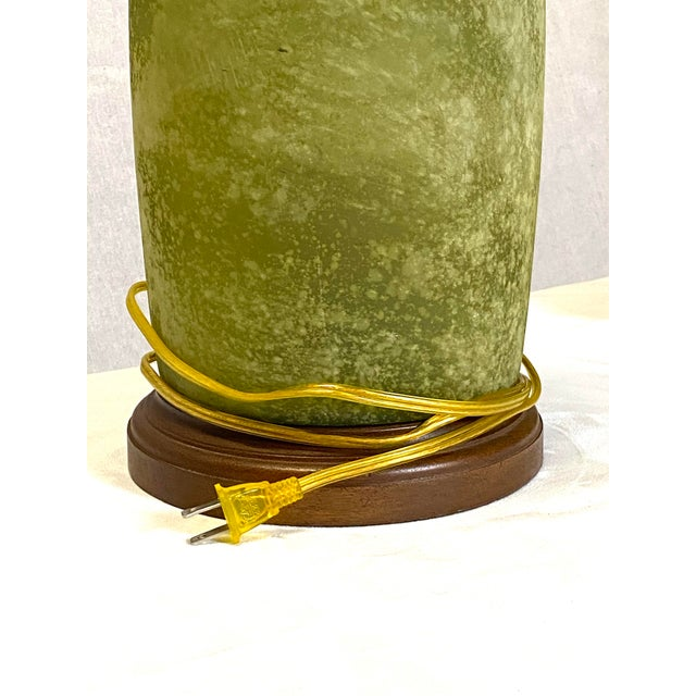 Wood Stunning Frosted Green Glass Vintage Table Lamps - a Pair For Sale - Image 7 of 8