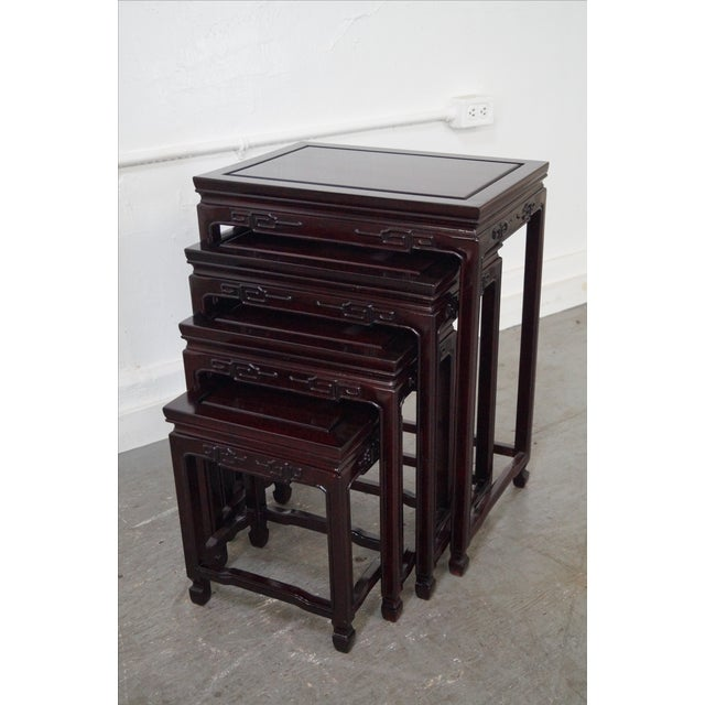 Chinese Rosewood Nesting Tables - Set of 4 For Sale - Image 4 of 9