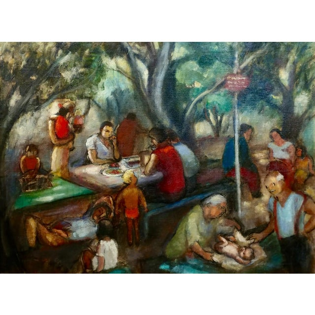 "Frances Beatrice Lieberman-1935 Picnic at Alum Rock-Oil Painting-S.F. Museum of Art frame size 29 x 37"" canvas size 22 x..."