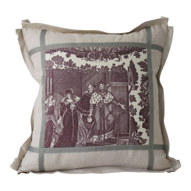 Antique 1880s French Toile Pillow For Sale