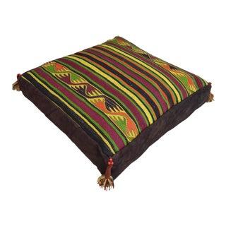 Handmade Turkish Kilim Pillow Cover Floor Cushion - 28″ X 28″ For Sale