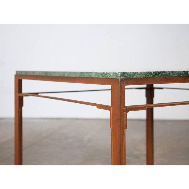 Contemporary Contemporary Oxidized Steel and Emerald Green Marble Top Squares Table For Sale - Image 3 of 6