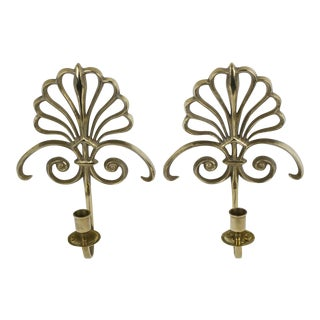 Ornate Fan Shaped Candlestick Wall Sconces - a Pair