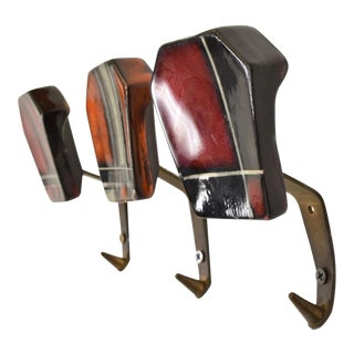 Mid-Century Modern Ceramic & Brass Decorative Coat Hat Racks Hooks - Set of 3 For Sale