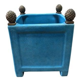 Turquoise Decorative Ceramic Cachepot For Sale