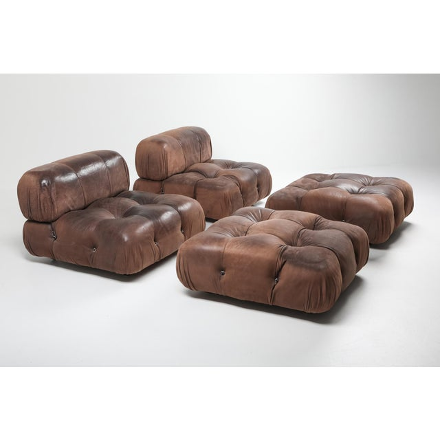 Brown Camaleonda Lounge Chairs in Original Brown Leather by Mario Bellini - 1970s For Sale - Image 8 of 11