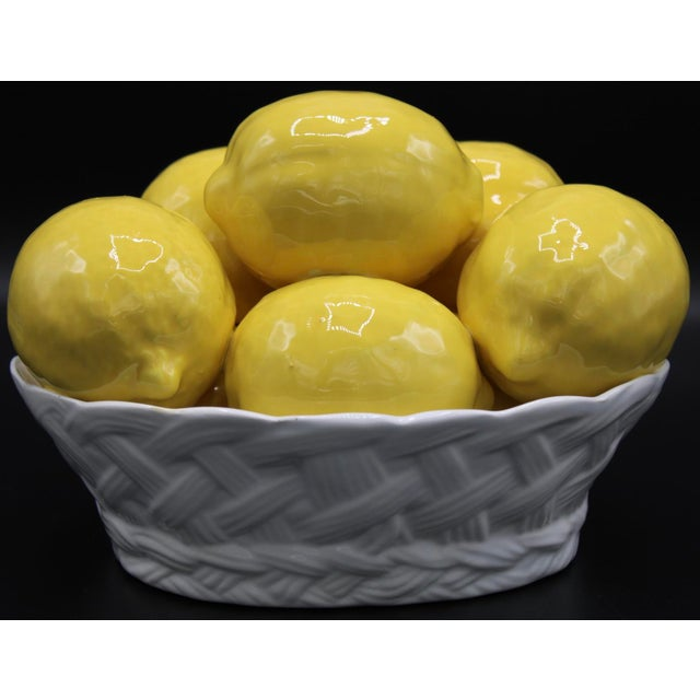 Lovely Vintage Italian Ceramic Basket of Lemons. Bright and cheerful, the scalloped edging and woven lattice pattern on...