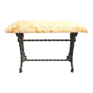 1920's Wrought Iron Polychromed Bench With Lion's Heads Manner of Oscar Bach For Sale