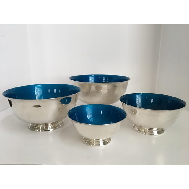 1960s Mid-Century Reed & Barton Silver-Plated Revere Bowls With Blue Enamel Interiors - Set of 4 Sizes For Sale - Image 5 of 13