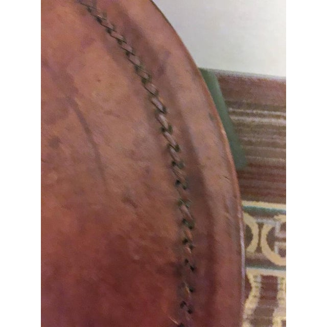 Black ELEGANT HERMES STYLE WHIPPED STITCHED LEATHER TOPPED IRON BASE TABLE For Sale - Image 8 of 8