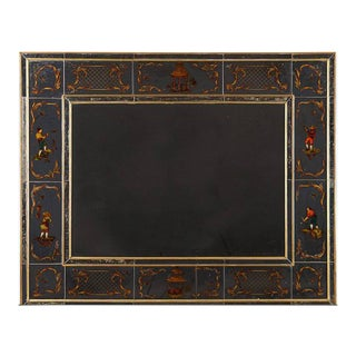 Very Chic Reversed Painted Chinoiserie Mirror in Gilt Wood Frame For Sale