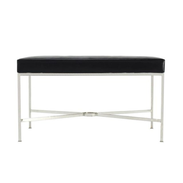 Black Leather Upholstered Rectangular X-Base Bench For Sale In New York - Image 6 of 8