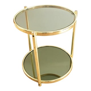 1970s Vintage Brass 2-Tier Side Table For Sale