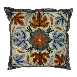 Chinese Leaf Pattern Silk Pillow For Sale
