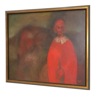 "Large Mid Modern Oil Painting ""A Friend, 1562"" by D. Eberly c.1962"