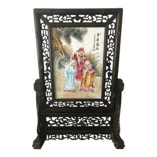 Antique Chinese Rosewood and Porcelain Handpainted Screen For Sale