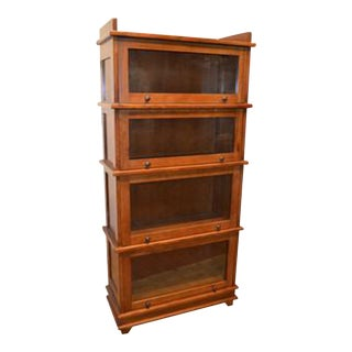 Crafters and Weavers Mission Style 4 Fixed Stack Barrister Bookcase For Sale