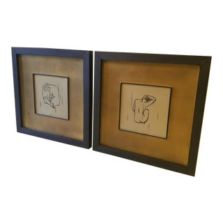 Uttermost Modern Women Silhouette Drawings - A Pair
