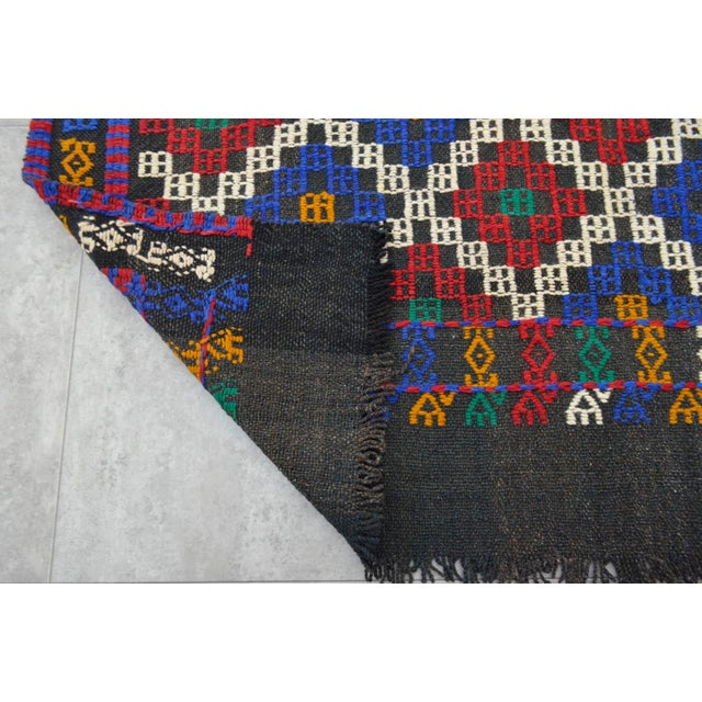 """Hand-Woven Rug Kilim Braided Nomadic Rug - 5' X 8'4"""" For Sale - Image 10 of 12"""