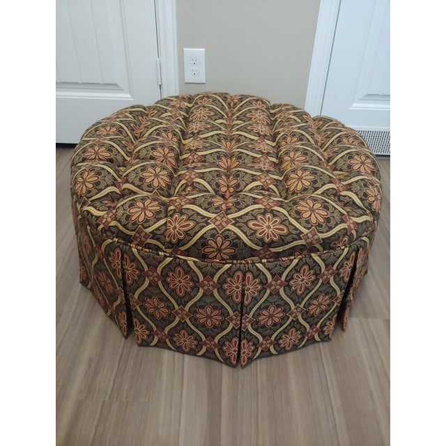 Pleasing 1990S Vintage Round Tufted Ottoman Caraccident5 Cool Chair Designs And Ideas Caraccident5Info
