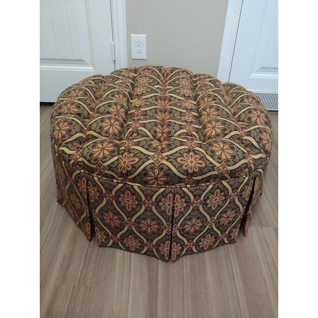 Super 1990S Vintage Round Tufted Ottoman Beatyapartments Chair Design Images Beatyapartmentscom