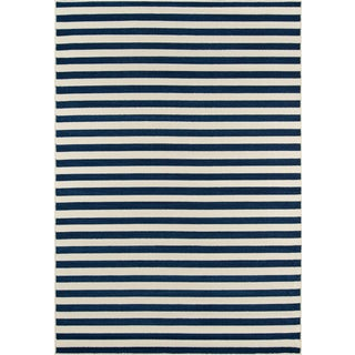 "Momeni Baja Navy Stripe Indoor/Outdoor Rug - 6'7"" X 9'6"" For Sale"