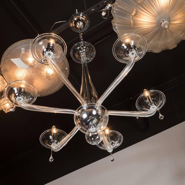Mid-Century Handblown Six-Arm Murano Chandelier in Clear Glass - Image 6 of 11