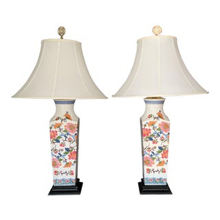 Tall Chinoiserie Floral Table Lamps by Speer - a Pair For Sale