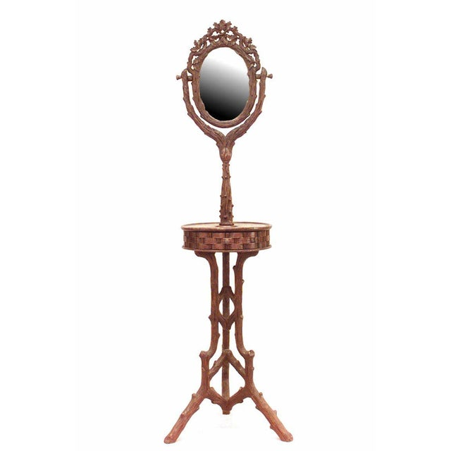 Mid 19th Century 19th Century Rustic Black Forest Carved Walnut Shaving Mirror For Sale - Image 5 of 5