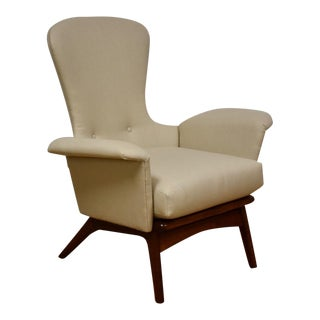 Adrian Pearsall Tall Back Walnut Lounge Chair For Sale