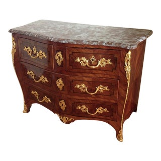 18th Century French Roussel Marble Top Commode