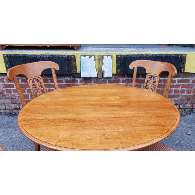 Rustic Ethan Allen Legacy Collection Maple Table W/ Wrought Iron Base & 4 Side Chairs C1990s For Sale - Image 3 of 13