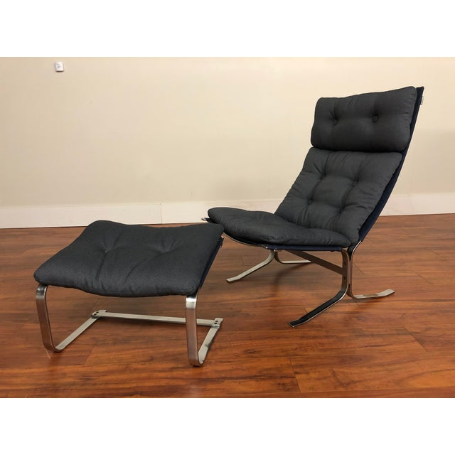 Mid 20th Century Danish Vintage Metal Lounge Chair and Ottoman Newly Upholstered For Sale - Image 5 of 11