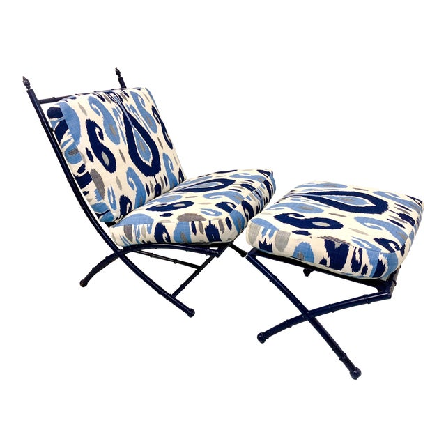 Faux Bamboo Chair & Ottoman - Image 1 of 5