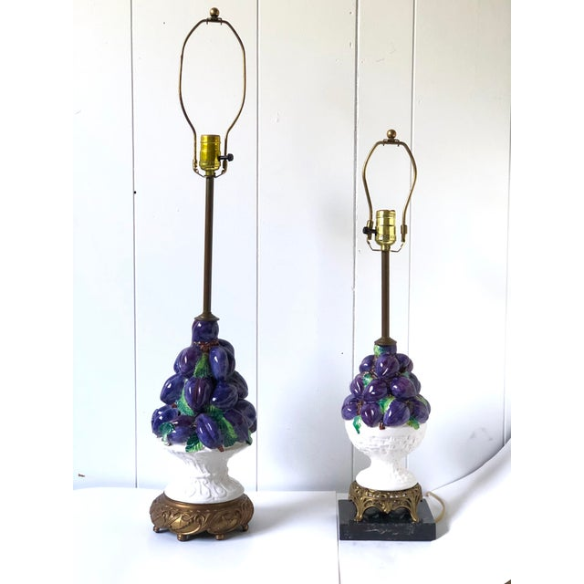 Amazing and fun friendly pair of vintage ceramic Italian lamps with plum topiaries stacked into decorative white compotes...