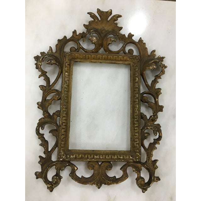 Antique Brass Toned Metal Frame For Sale - Image 4 of 6