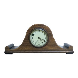 Vintage Tabletop Clock Mounted in Wood Base For Sale