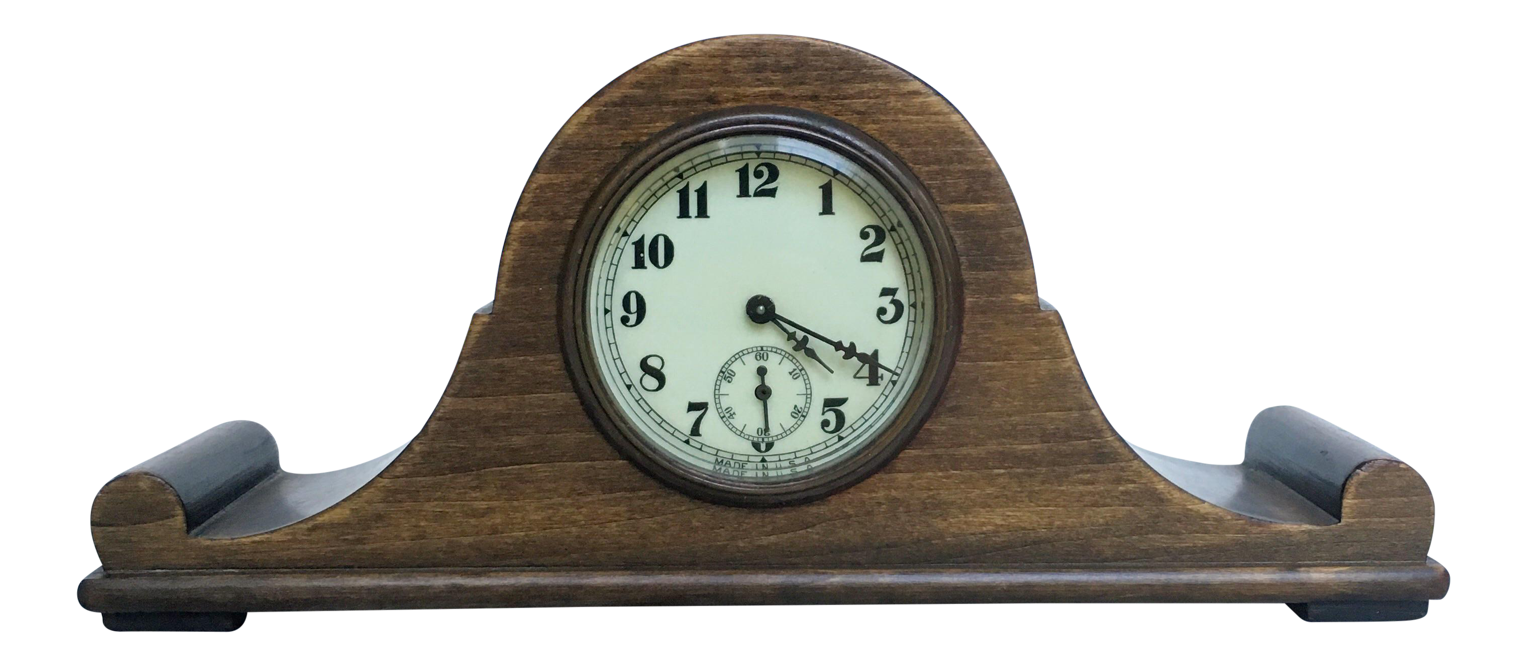 Vintage Tabletop Clock Mounted In Wood Base   Image 1 Of 6