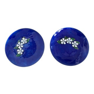 1960s Mid-Century Modern Luminous Deep Blue Enamel Dishes - a Pair For Sale