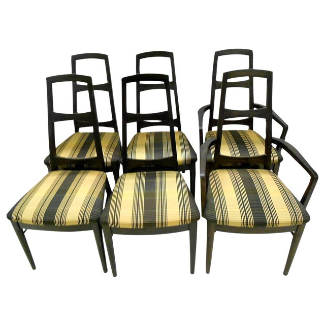 Mid-Century Black Teak Dining Chairs - Set of 6 - Image 1 of 8